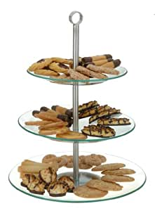 3 st ckige etagere aus glas und edelstahl aufbewahrung f r pralinen obst pl tzchen kekse. Black Bedroom Furniture Sets. Home Design Ideas