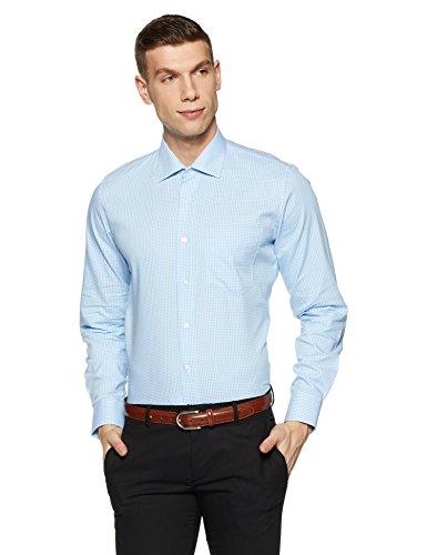 Van Heusen Men's Solid Slim Fit Formal Shirt (VHSF318M011551_Blue_40)