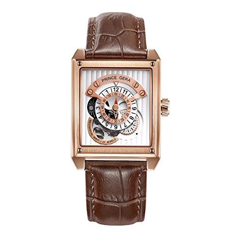 Prince Gera Rechteck Rose Gold Herren Automatik Uhren wasserdicht Skelett Mechanische Uhr