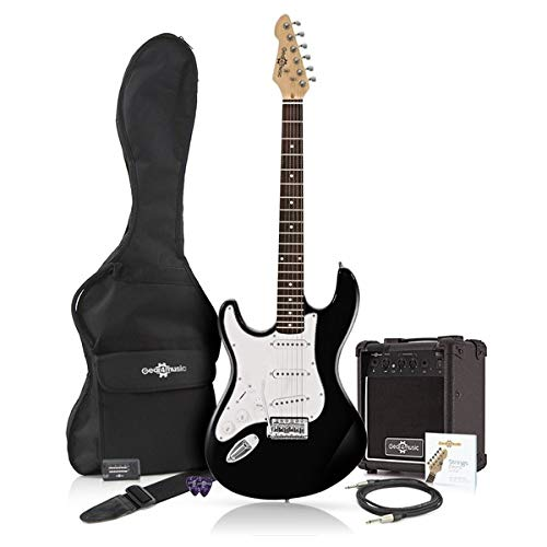 Guitarra Eléctrica LA Zurda + Paquete de Amplificador de 10 W Negro