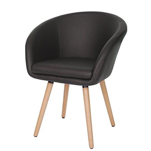 Chaise de salle à manger Malmö T633, fauteuil, design rétro des années 50 ~ similicuir, marron