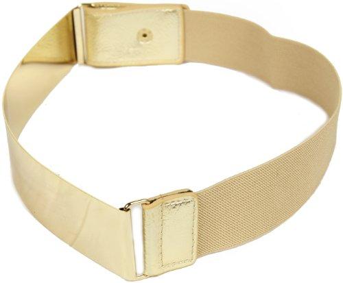 Frauengürtel, Gold Metall oder Silber Metall Platten mit Stretch-elastischen Band, eine Größe 30 x 5 cm Gold Gold (Dunkles Korsett Grün)