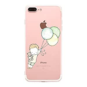 Caler Cover iPhone 8 Plus, Cover iPhone 7 Plus, Custodia Case Trasparente Morbida TPU (Ragazzino con Palloncini)