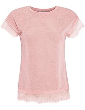 oodji Ultra Mujer Camiseta con Cuello Redondo y Acabado de Encaje