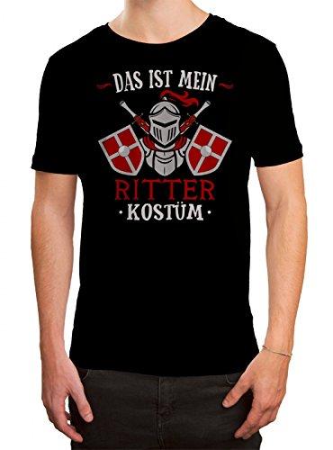 (Kostüm Ritter Premium T-Shirt Verkleidung Karneval Fasching Herren Shirt, Farbe:Schwarz (Deep Black L190);Größe:M)