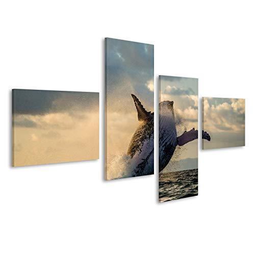 Bild auf Leinwand Spring auf den Buckelwal. Das Wassergebiet der Insel St. Mary. Wandbild Poster Leinwandbild