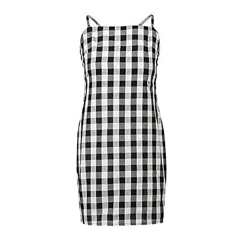 CU@EY Frauen feste Kleid Rückenfrei bowknot Schwarz-weiß karierte,