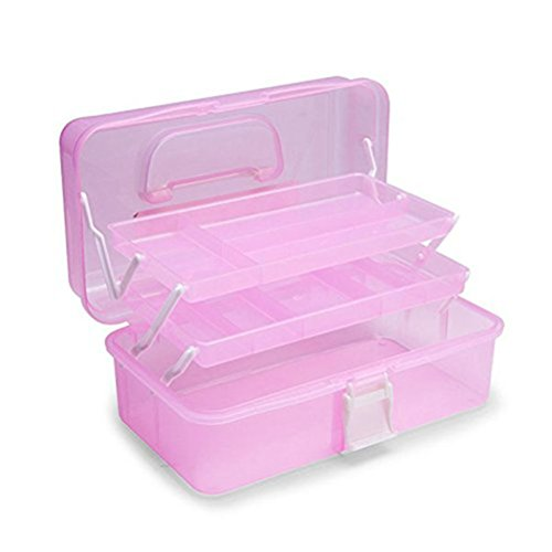 PIXNOR 3 couches Boîte à bijoux Mallette/ coffrets/ boîte à maquillage Boucles d'oreilles boite maquillage (couleur aléatoire)