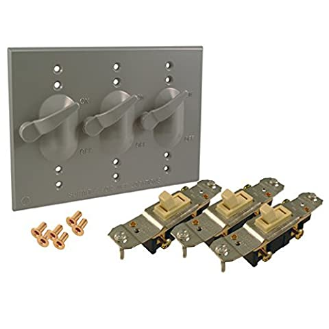 Hubbell-Bell 5126-0 3-Gang Lever Switch Weatherproof Cover by Hubbell Bell