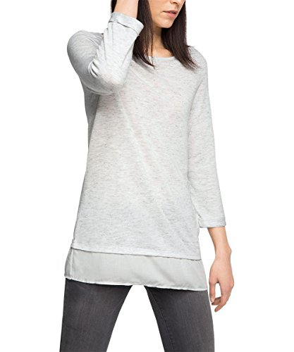 ESPRIT Women's Crossfabric Tee Long Sleeve T-Shirt, Grey (Light Grey 5 044), 14 (Manufacturer Size:Large)