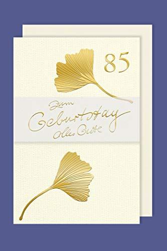 Geburtstag 85 Karte Grußkarte Gold Prägefolien Druck Blatt 16x11cm