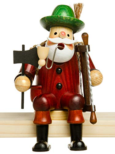 Sikora RM-A Kantenhocker Holz Räuchermännchen H:16,5 cm - Verschiedene Motive, Größe:Höhe ca. 16.5 cm, Farbe/Modell:A03 Kantenhocker Rot - Holzfäller