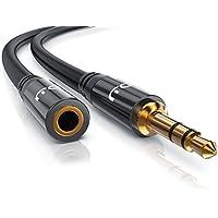 CSL - 2m Audio AUX Klinkenkabel / Verlängerungskabel für AUX Eingänge | Voll-Metallstecker passgenau | 3.5mm Stecker auf 3.5mm Buchse | 3,5mm Audiokabel HQ Premium Series