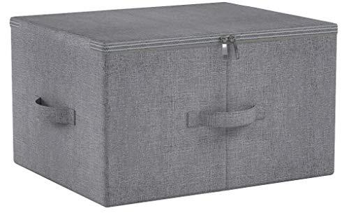 iwill CREATE PRO Klapp-Aufbewahrungsbox mit Reißverschluss Deckel und Griffe, Ablagekorb mit Leinenstoff, Schrank Schublade abnehmbare Trennwände, dunkelgrau, 2 Stück