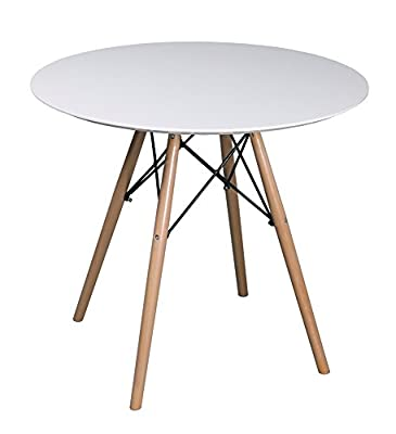COMO ROUND DINING TABLE-White Wooden Top With Beech Wood Legs