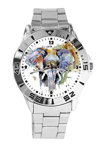 Reloj de Pulsera analógico con diseño de Elefantes de Acuarela, Esfera Plateada,...