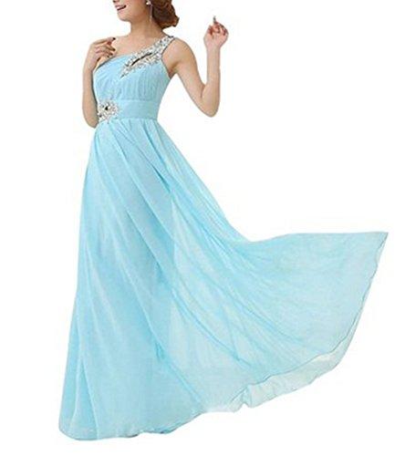 PLAER femmes Sexy Une épaule diamant robe mariage de demoiselle d'honneur robe soirée de fête robe bleu ciel