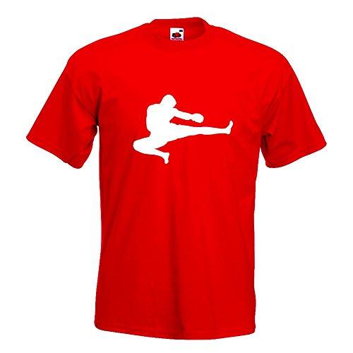 KIWISTAR - Kampfsport Karate Judo Kung T-Shirt in 15 verschiedenen Farben - Herren Funshirt bedruckt Design Sprüche Spruch Motive Oberteil Baumwolle Print Größe S M L XL XXL Rot