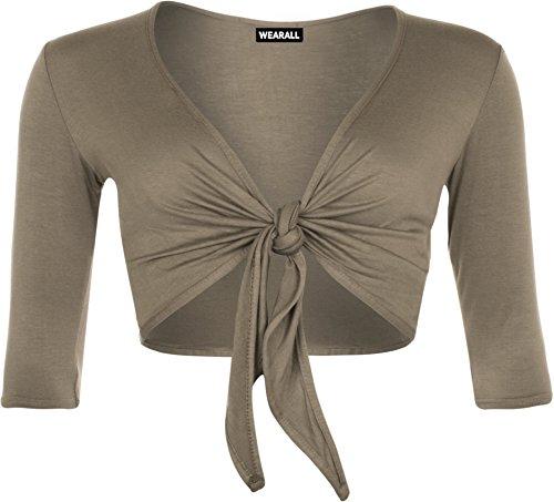 WearAll - Femmes Court V Neck Tie Up manches 3/4 recadrée Gypsy Boho Haut - Hauts - Femmes - Tailles 36-42 Moka