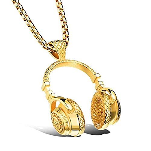 Mode-Halskette,KEATTL Heißer verkauf Kopfhörer Anhänger Halskette Beliebte Hip Hop Mikrofon Kopfhörer Headset Amulett Kette (Gold)