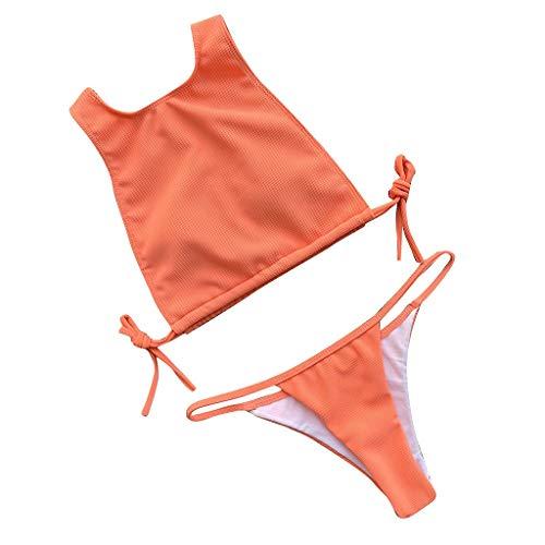 Pwtchenty Bikinis Große Größen Retro Volltonfarbe Badeanzüge Für Damen Sexy Vintage Boho Bikini Bademode Vertuschen Swimwear Swimsuits Beachwear Uv Schutz Split Bikinihose Badebekleidung (Grüner Mann Kostüm Origin)