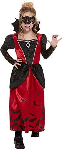 Fancy Ole - Mädchen Girl Kinder Vampir Vampire Gräfin der Dunkelheit Kostüm, Kleid und Maske, perfekt für Halloween Karneval und Fasching, 122-134, Rot