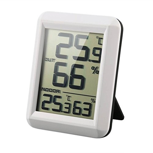 Uzinb Digital LCD Funk-Thermometer Hygrometer mit Transmitter Temperatur-Feuchtigkeits-Test-Meter-Innenwetterstation
