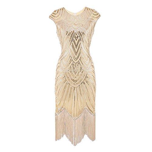 Lazzboy Damen 1920er Diamant Pailletten verschönert mit Fransen Flapper Kleid(Beige,S)