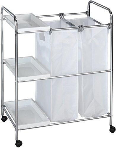 Wenko 62200100 Wäschewagen Arona Wäschekorb auf Rollen, 3 Ablagen, 2 Wäschesäcke Fassungsvermögen 64 L, Verchromtes Metall, Silber glänzend, 39 x 63 x 81 cm