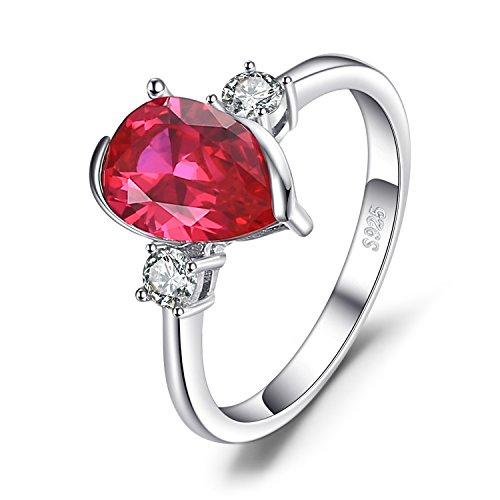 Jewelrypalace Mode 2.9ct Birnenform erstellt Ruby 3 Stein Ring 925 Sterling (Romantische Kostüme Kollektion)