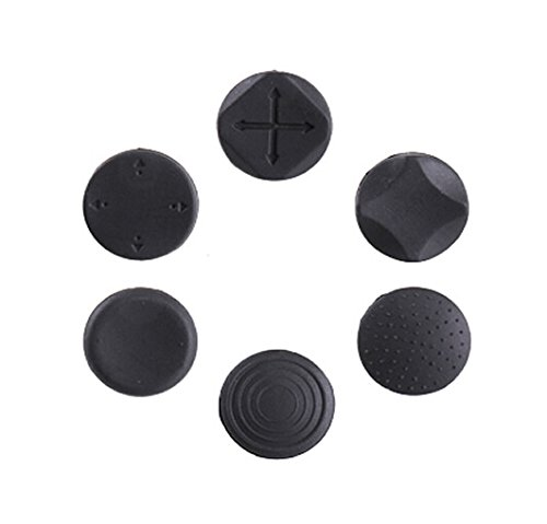 Feicuan Button Protectors Thumbstick Cover Joystick Analog Cap pour PS Vita Black Pack of 6