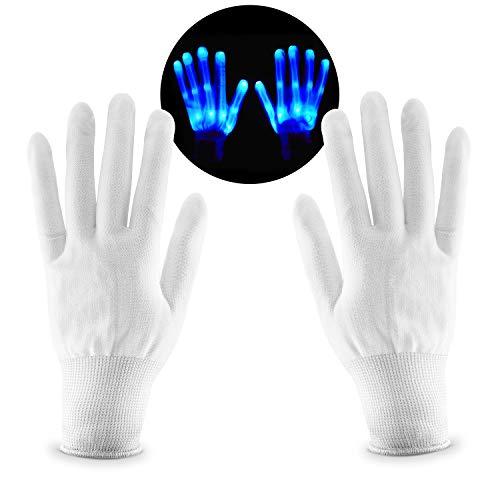SKL LED Party Handschuhe Skeleton Handschuhe Leuchtende Handschuhe Party Tanzen Halloween Weihnacht Handschuhe Beleuchtung Handschuhe Einheitsgröße(Grüne Farbe)