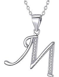 Morella collar de mujer con colgante letra de 925 plata rodiada con piedras de circonita para damas 45cm color blanco