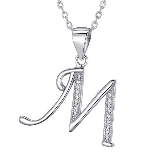 Morella collana donna argento con ciondolo lettera m argento 925 rodinato con zirconi bianchi 45 cm