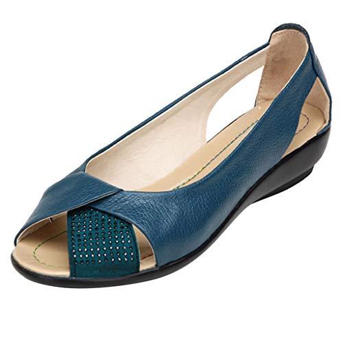 Damen Damen Peep Open Toe Sandalen Laser Cut Slip On Sommer Freizeitschuhe Niedriger Absatz Plateauschuh mit Glitzerperlen Größe UK 4 5 6 7 8 Peep-toe-mini