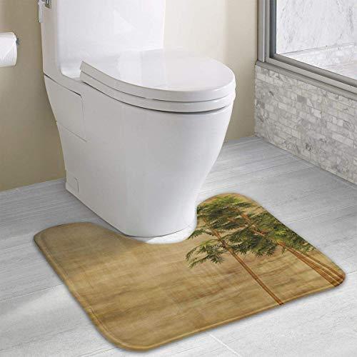 Vidmkeo Retro Bamboo Leaves Contour Bath Rug, U-Shaped Polyester Toilet Floor Mat Non Slip Bathroom Shower Carpet -