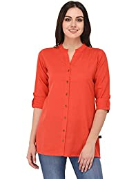 Pistaa Women's Coral Solid Cotton Short Top Kurti