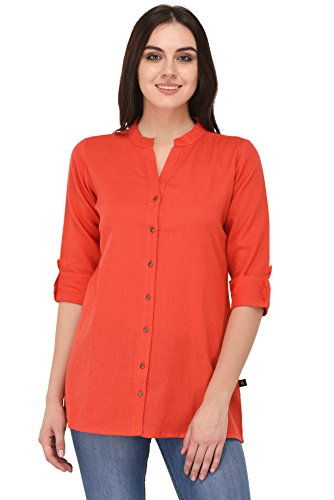 Pistaa women's Yellow Solid Cotton Short Top Kurti (P Coral, 36 - X-Small)