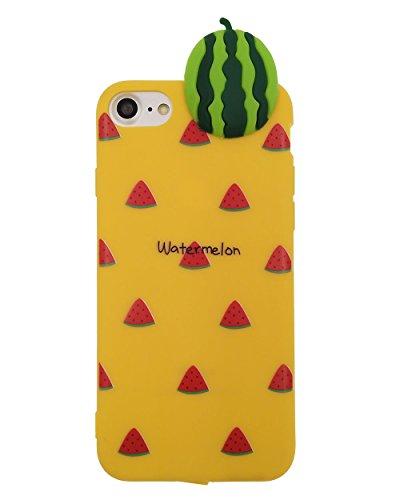 iPhone 7 Hülle, BENKER Hohe Qualität Kreativ Anti-Kratz Nicht Verblassen TPU Silikon Frucht Telefon Fall - Erdbeere Wassermelone