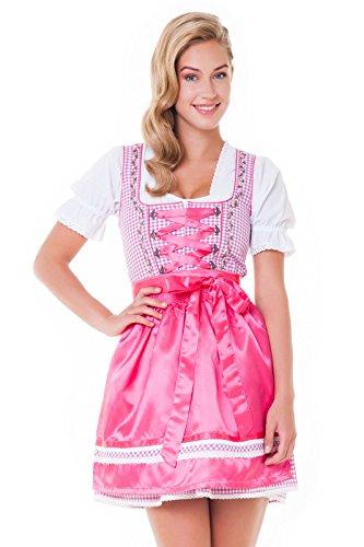 Alpenmärchen, 3tlg. Dirndl-Set - Trachtenkleid, Bluse, Schürze, Gr.32-46, verschiedene Farben fuchsia-fuchsia