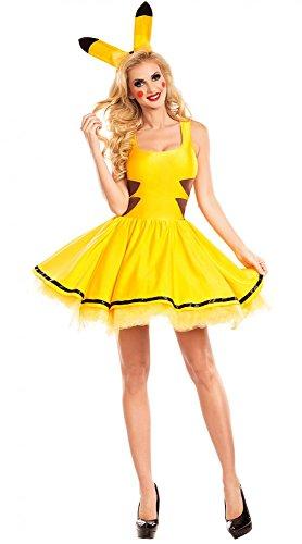 Kostüm Sexy Pikachu - Pikachu Damen Kostüm sexy Petticoat Kleid und Haarreif mit Ohren Pokemon, Größe:M/L