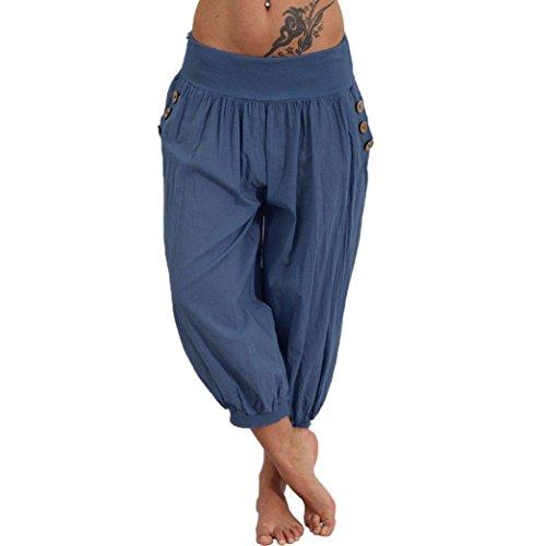 Damen Pumphose cinnamou Hosen Solid Elastische Taille Yoga Capris Boho Check Hosen Sommer Elegant Leicht Hohe Taillen Freizeithose Haremshose Lange Hose (M, Blau) -
