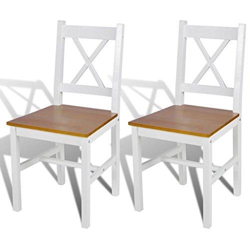 Tidyard 2 Stühle Holzstuhl Esszimmerstuhl Küchenstuhl mit Holz Sitzfläche in Weiß + Naturfarbe, 41,5 x 45,5 x 85,5 cm (B x T x H)