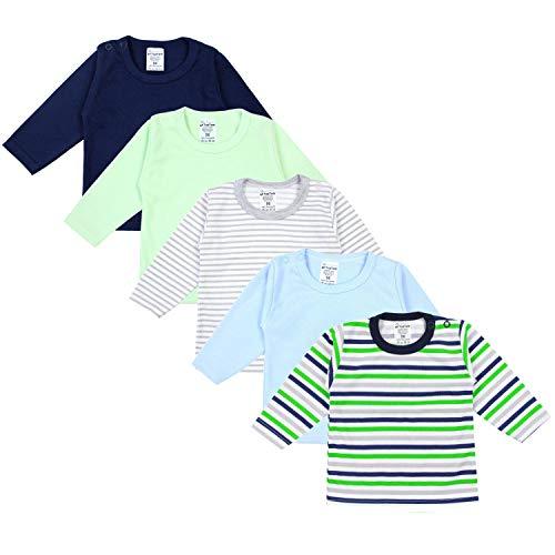 TupTam Baby Jungen Langarmshirt Gestreift 5er Set, Farbe: Mehrfarbig, Größe: 74