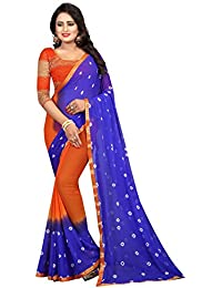 Regent Women's Multicolors Chiffon Printed Bandhani Style Saree With Blouse Piese