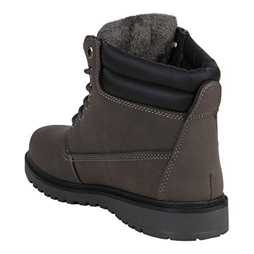 Stiefelparadies Herren Worker Boots Outdoor Schuhe Warm Gefüttert Profil Sohle Flandell Grau Carlet