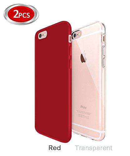 Funda iPhone 6/6s Zeuste Funda Carcasa Gel Transparente y Rojo Moderno - 4.7 Pulgada - 2 Pack Rojo y Transparente Iphone 6/6s Case Apple Funda Iphone 6/6s Silicona (Rojo y Transparente)