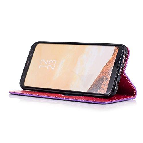 Funda Galaxy S8 plus,TOUCASA® PU Cuero Billetera Ranuras para Tarjetas y Billetera TPU Silicona Case Interna Suave Diseño de Patrón de amor del corazón Diseño de líneas a rayas y cuadros nueva llegada Magnético Función Delgado Funda para Samsung Galaxy S8 plus-Color Púrpura