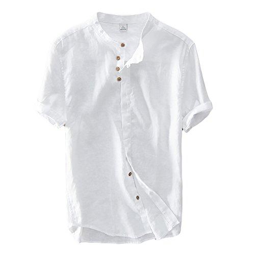 Icegrey Chemise Homme Chemise En Lin Avec Col Mao Shirt Décontractée Manches Courtes T-Shirt Blanc 48