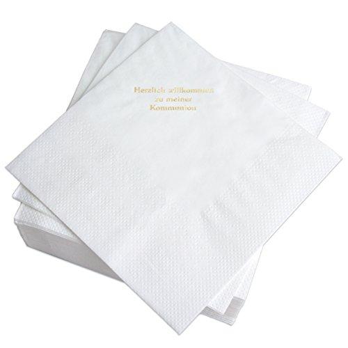 Geschenke mit Namen Servietten weiß, Prägung in Gold-Schrift: HERZLICH WILLKOMMEN ZU MEINER Kommunion, 50 Stück, ca. 33 x 33 cm